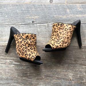 Mango Leopard Print Calf Hair Heels Size 6